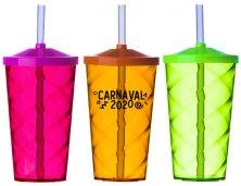 Copo Espiral Neon Com Tampa e Canudo 500ml 2301 Personalizado